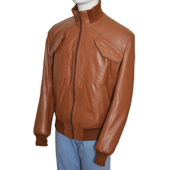 Men's Four Pockets Slim Fit Bomber Leather Jacket