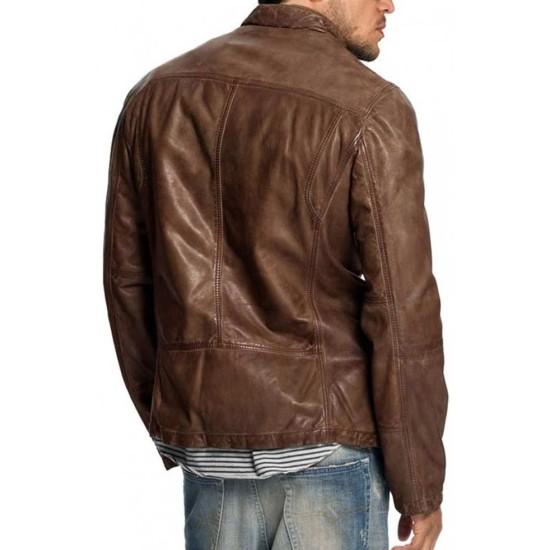 Men's Vintage Four Pockets Distressed Brown Leather Jacket