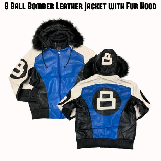 Men's 8 Ball White Black and Blue Leather Jacket