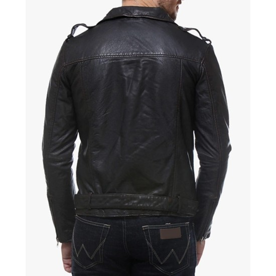 Men's Belted Asymmetrical Black Leather Biker Jacket