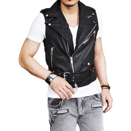 Men's Belted Asymmetrical Zipper Black Leather Vest