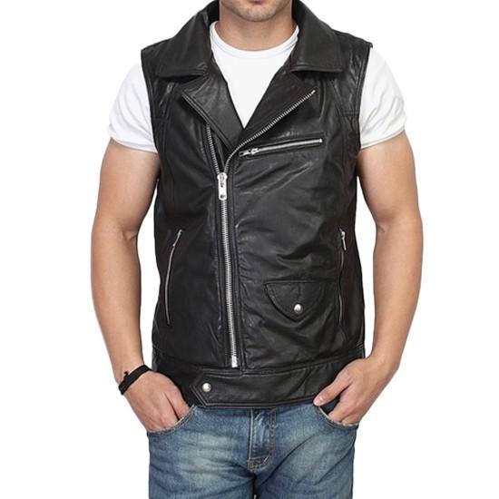 Men's Biker Asymmetrical Black Leather Vest