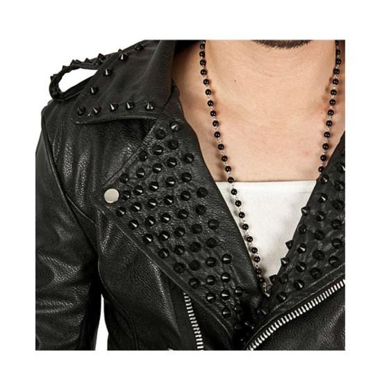 Men's Black Studded Asymmetrical Leather Jacket