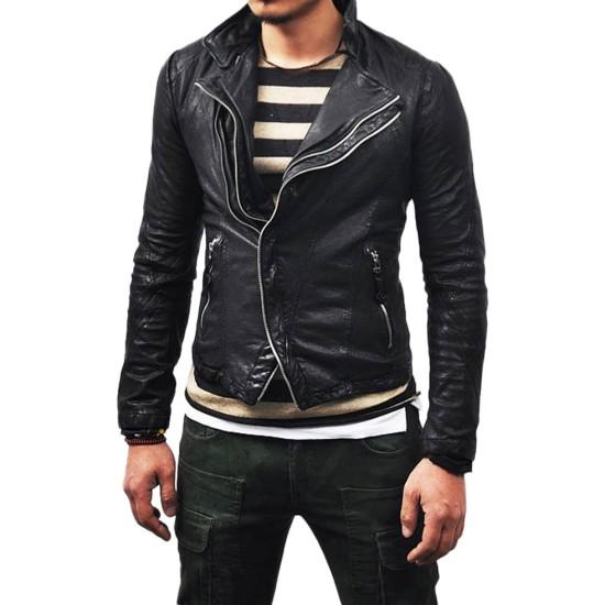 Men's Blouson Asymmetrical Lambskin Leather Jacket