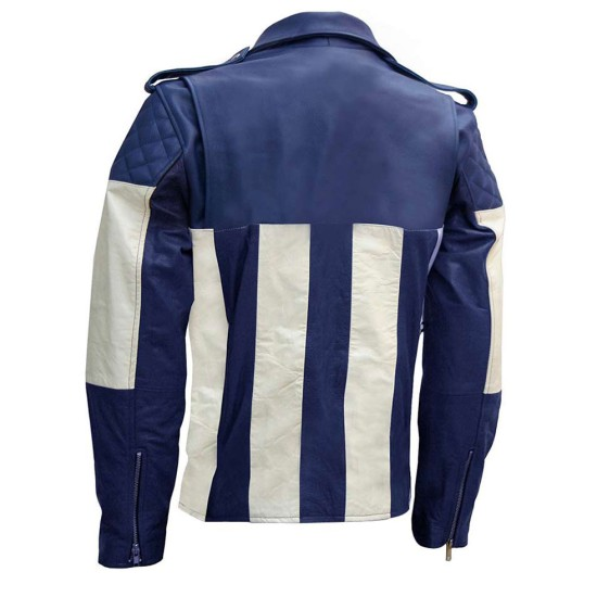 Men's Asymmetrical Biker Blue and White Leather Jacket