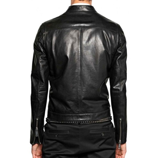 Men's Designer Asymmetrical Black Leather Jacket