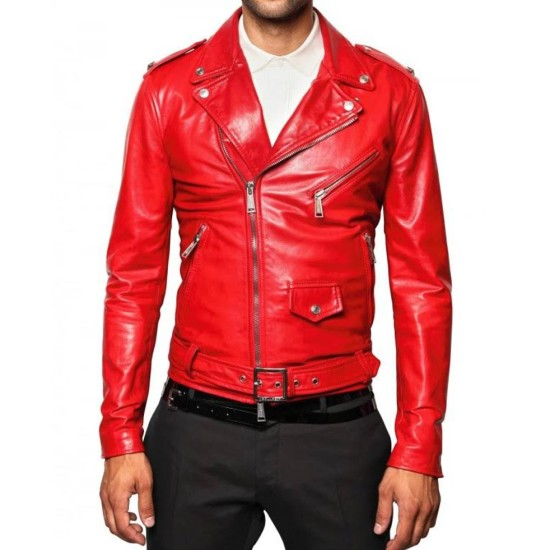 Men's Belted Asymmetrical Zipper Red Leather Motorcycle Jacket