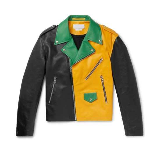 Men's Motorcycle Asymmetrical Color Block Leather Jacket