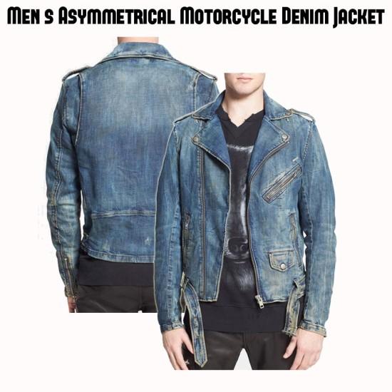 Men's Biker Blue Jean Asymmetrical Zipper Jacket
