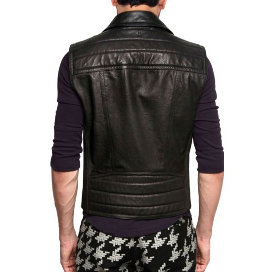 Men's Biker Style Asymmetrical Leather Vest