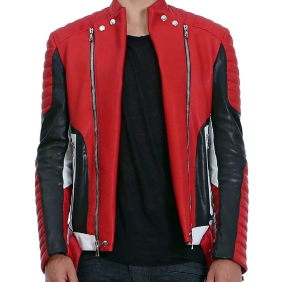 Men's Asymmetrical Zipper Red Leather Quilted Biker Jacket