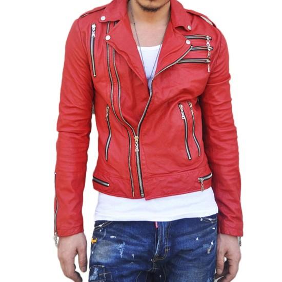 Men's Motorcycle Asymmetrical Zipper Red Leather Jacket