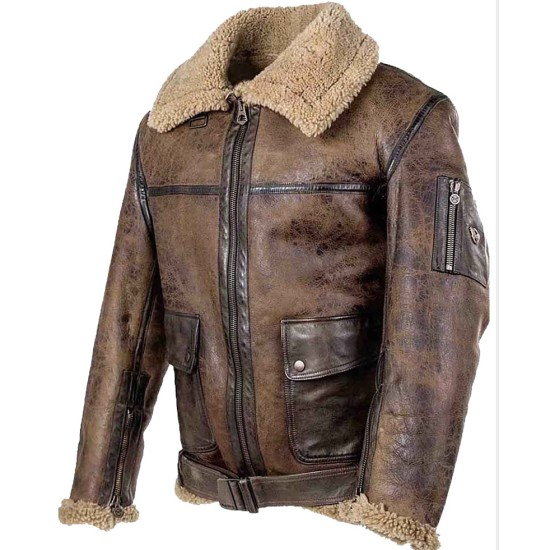 Men's Aviator A2 Shearling Belted Leather Jacket