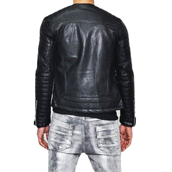 Men's Motorcycle Asymmetrical Belted Collarless Leather Jacket