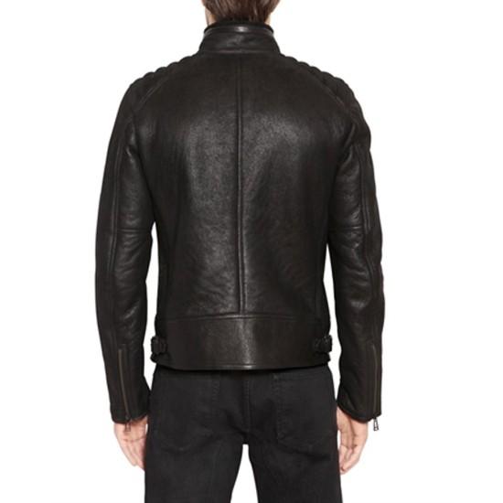 Men's Padded Shoulder Biker Black Leather Jacket