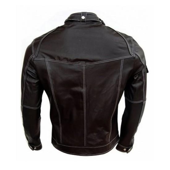 Men's Biker Style Belted Collar Black Leather Jacket