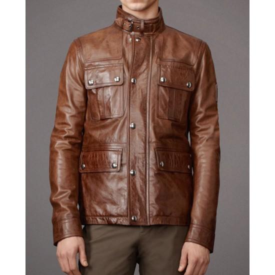 Men's Belted Collar Brown Leather Biker Jacket