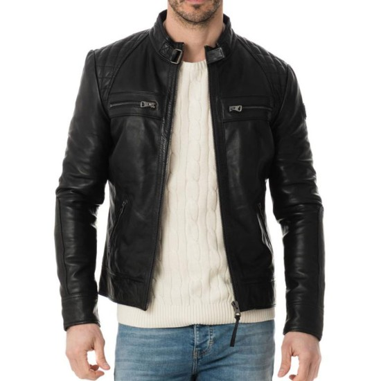Men's Casual Diamond Quilted Shoulder Belted Collar Jacket