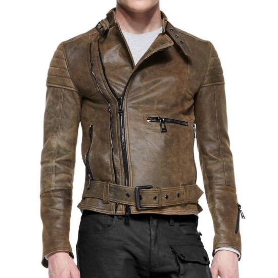 Men's Distressed Brown Belted Leather Jacket