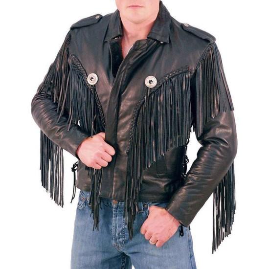 Men's Fringed Biker Beltless Black Leather Jacket