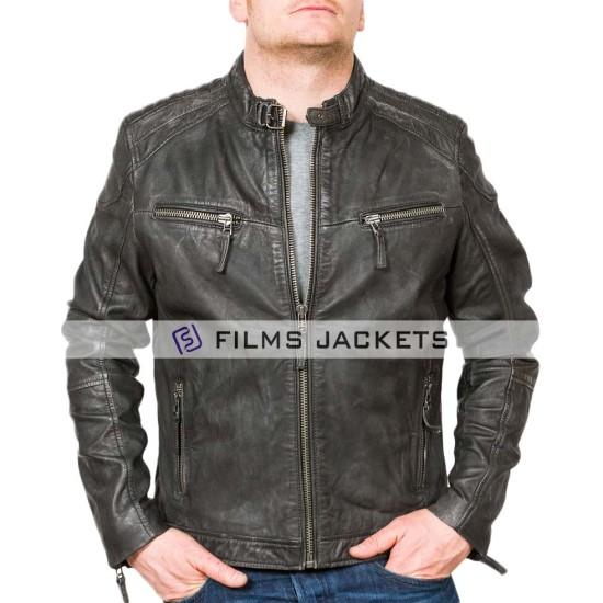 Men's Charcoal Black Leather Biker Jacket