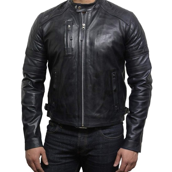 Men's Diamond Quilted Biker Black Leather Jacket