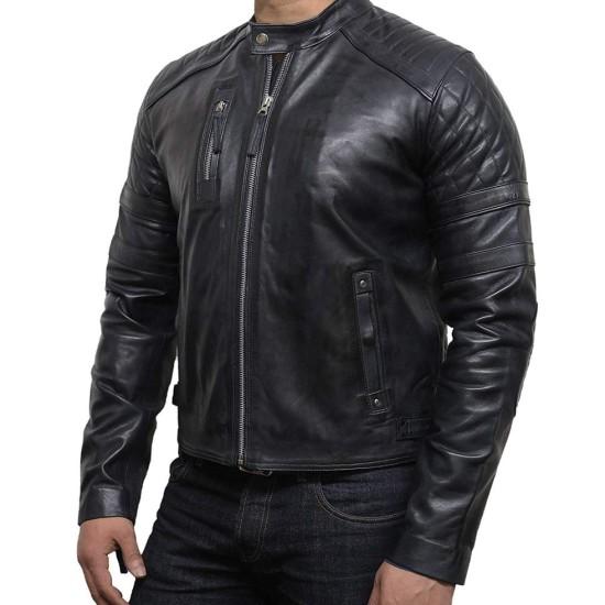 Men's Diamond Quilted Biker Black Leather Jacket