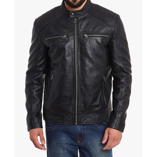 Men's Padded Black Leather Motorcycle Jacket
