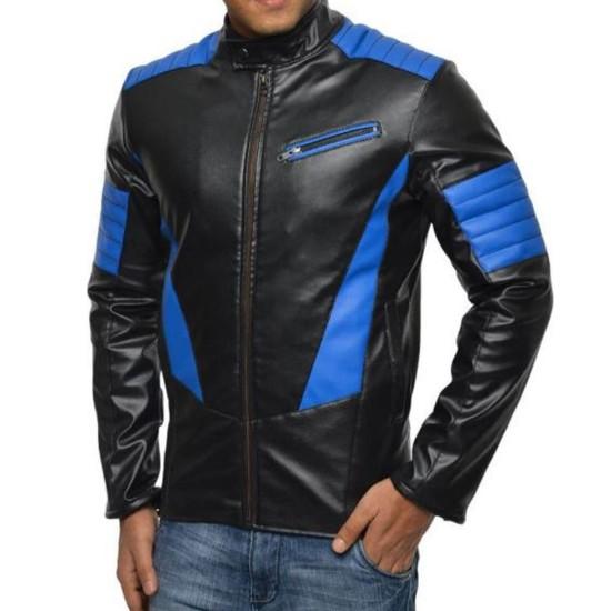 Men's FJM553 Blue Design Motorcycle Black Leather Jacket