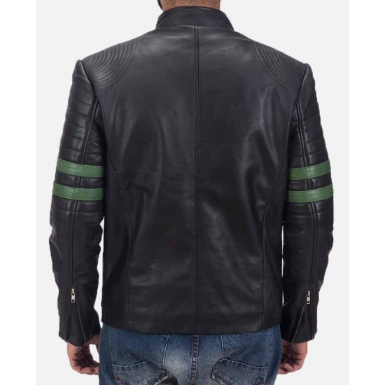 Men's Biker Padded Design Striped Black Leather Jacket