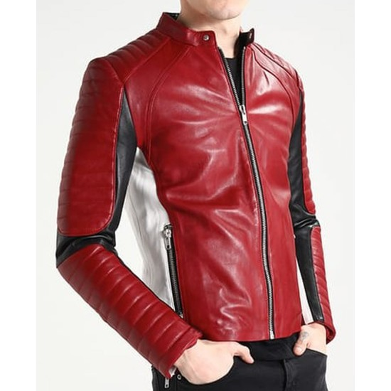 Men's White and Red Leather Motorcycle Jacket