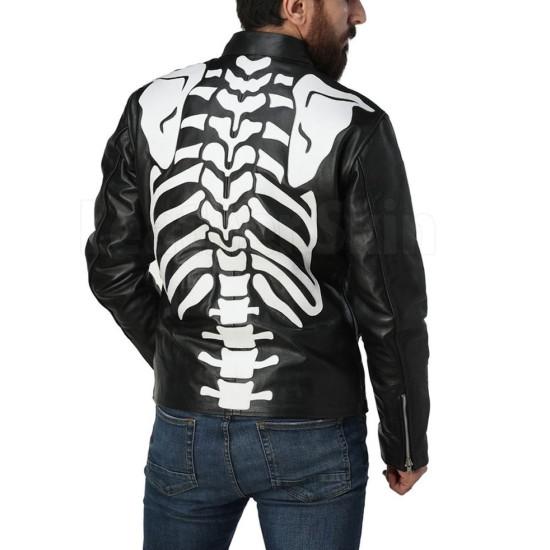 Men's Motorcycle Skeleton Black Leather Jacket