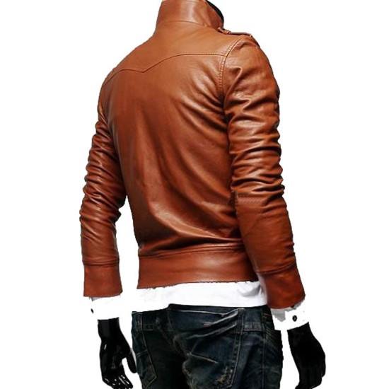 Men's Biker Slim Fit Button Front Style Brown Leather Jacket