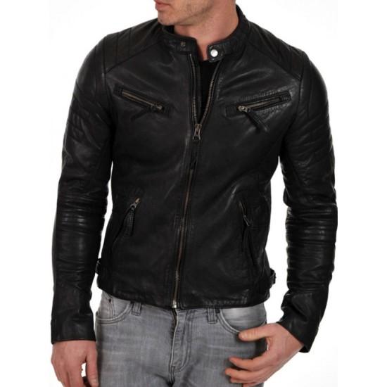 Men's Moto Snap Tab Collar Black Lambskin Leather Jacket