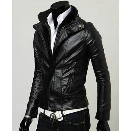 Men's Biker Style Multi Color Slim Fit Faux Leather Jacket