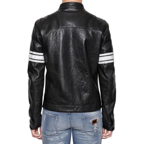 Men's White Striped Black Leather Motorcycle Jacket