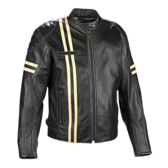 Men's Yellow Stripe Motorcycle Black Leather Jacket