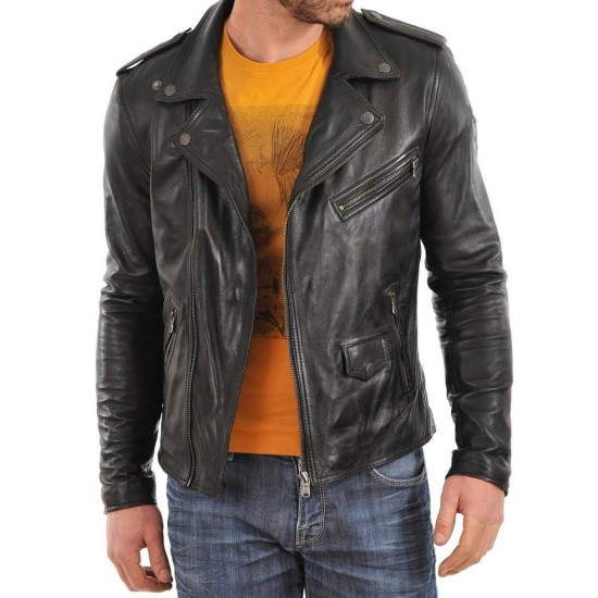 Men's Asymmetrical Zipper Motorcycle Black Leather Jacket