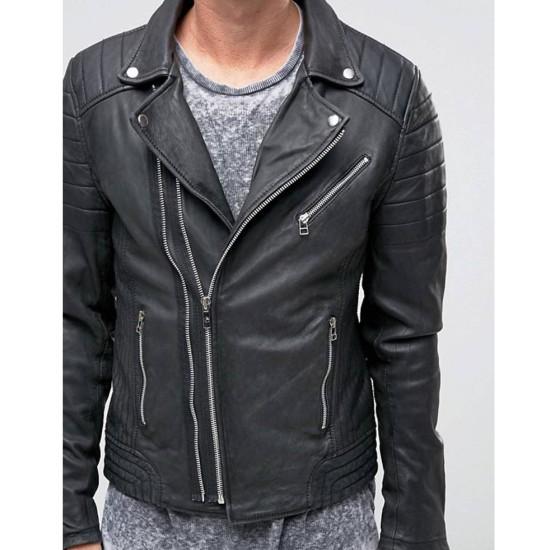 Men's Jackson Black Leather Motorcycle Jacket