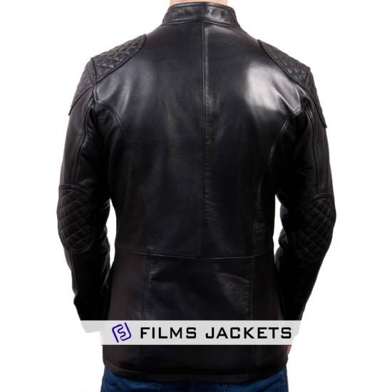 Men's Vintage Black Leather Racing Jacket