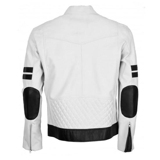 Men's Black Striped Biker Style White Leather Jacket