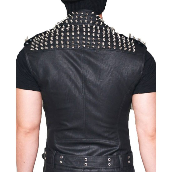 Men's Belted Studded Black Leather Vest