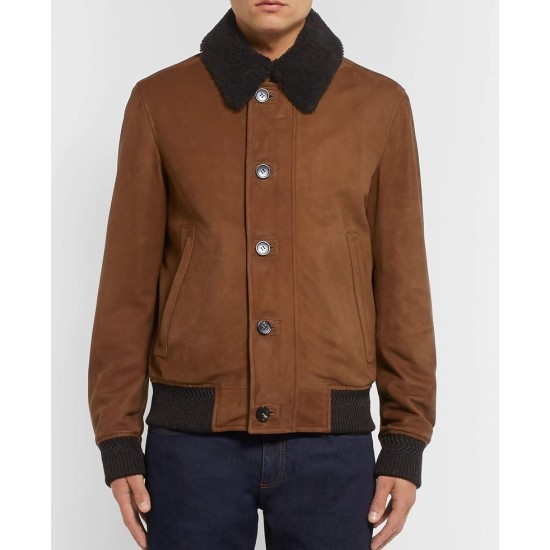 Men's Bomber Brown Suede Jacket with Fur Collar