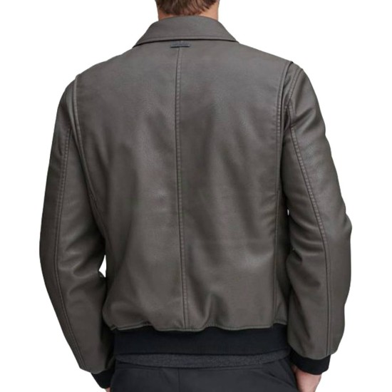 Men's Bomber Flap Pockets Grey Leather Jacket