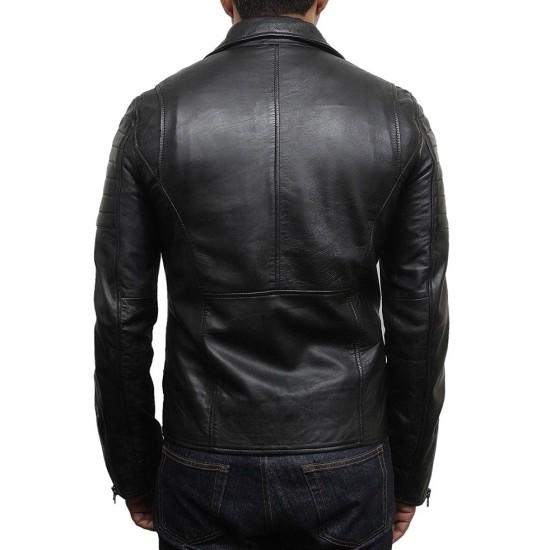 Men's Asymmetrical Zipper Brando Style Black Leather Jacket