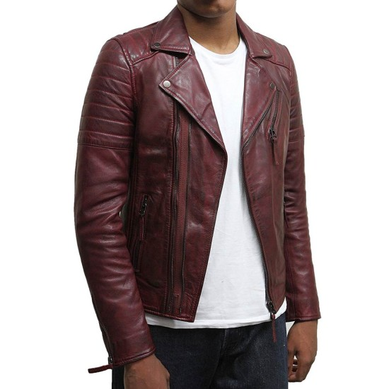 Men's Brando Style Asymmetrical Zipper Burgundy Biker Jacket