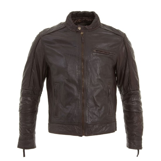 Men's Classic Brown Leather Motorcycle Jacket