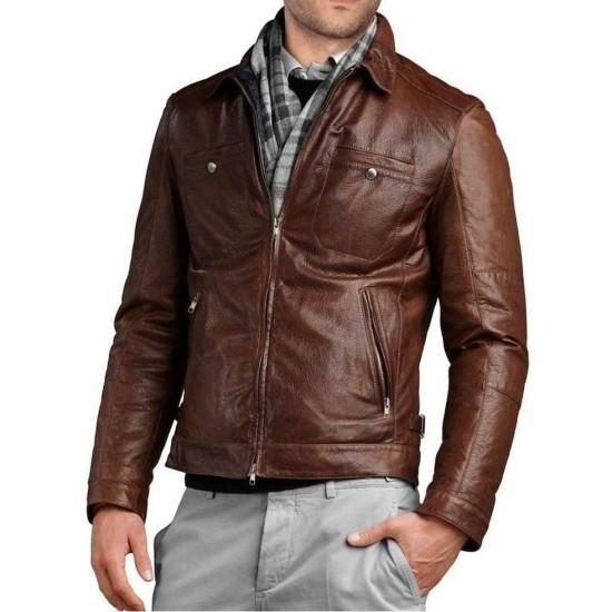 Men's Slim Fit Biker Brown Genuine Leather Jacket