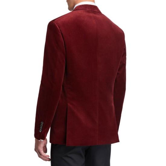 Men's Dinner Red Velvet Peak-Lapel Jacket