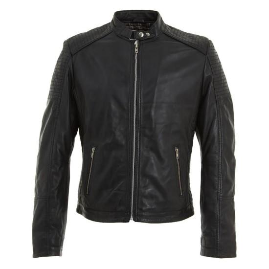 Men's Buckle Neck Style Black Leather Quilted Biker Jacket